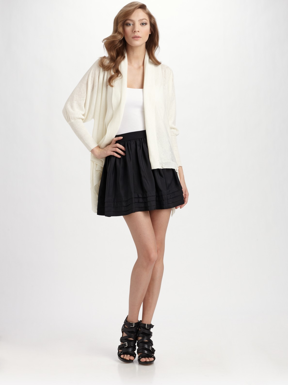 bcbgmaxazria pleated silk a line skirt in black lyst