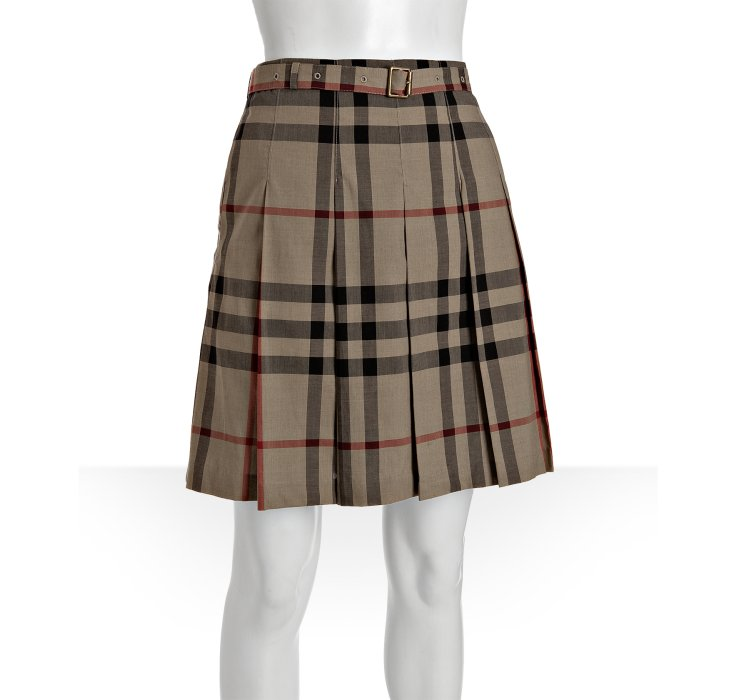 burberry brit beige check cotton pleated skirt in