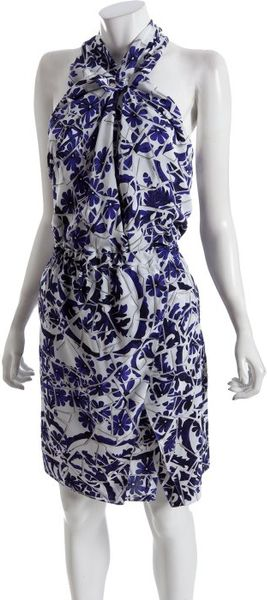 Gucci Blue Floral Silk Wrap Front Halter Dress In Blue Lyst