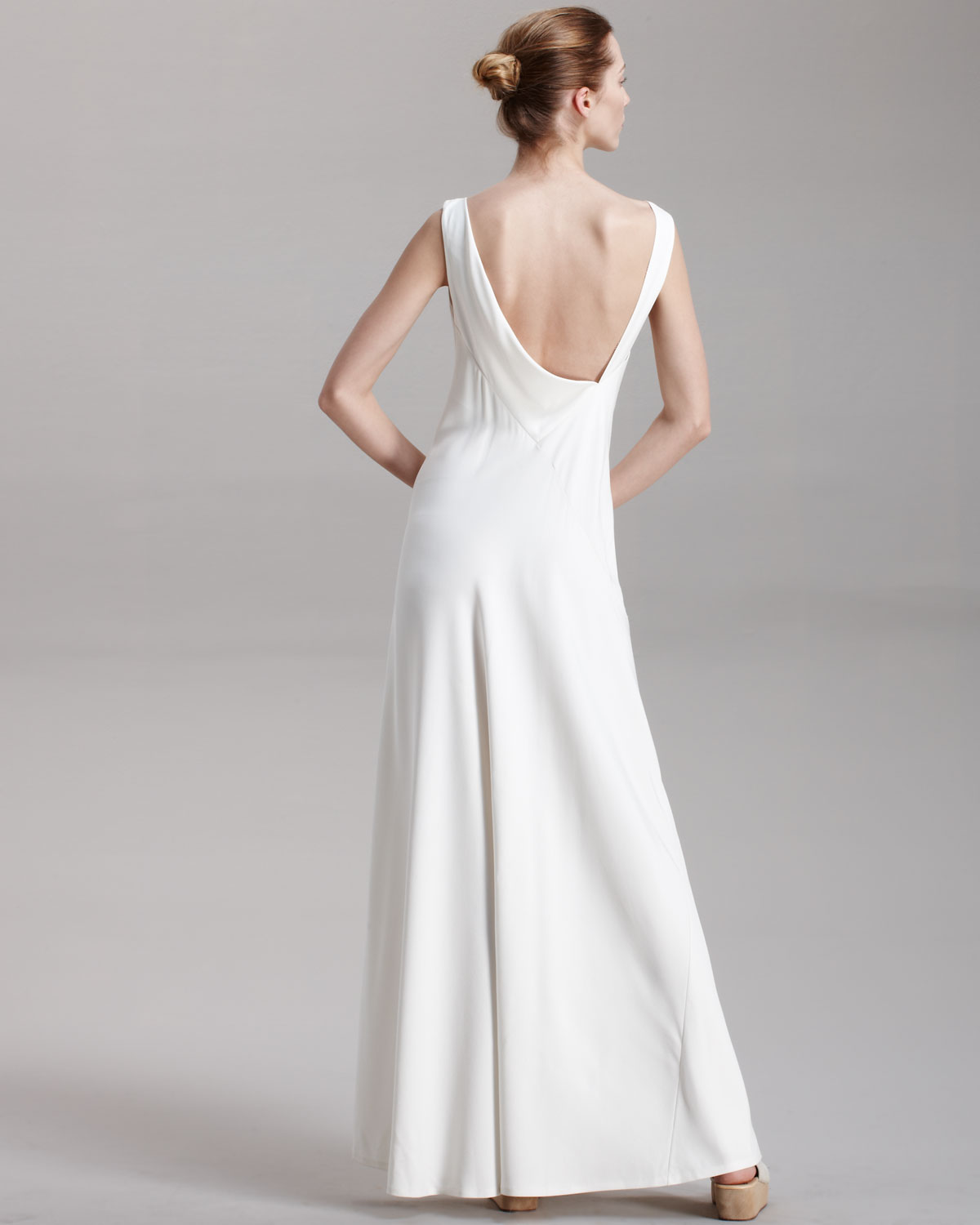 Lyst - The Row Silk Asymmetric-back Gown in White