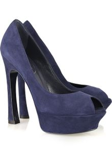 Yves Saint Laurent Palais Suede Peep-toe Pumps - Lyst