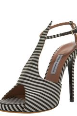 Tabitha Simmons Striped Silk T-strap Sandal