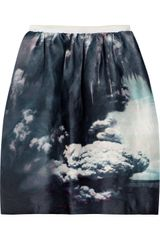 Carven Printed Linen and Silk-blend Skirt