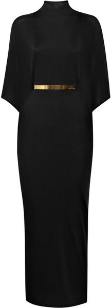 Halston Belted Turtleneck Jersey Dress - Lyst