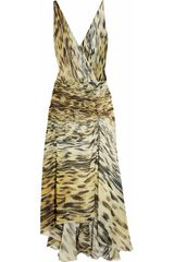 Roberto Cavalli Animal-print Silk-georgette Dress - Lyst