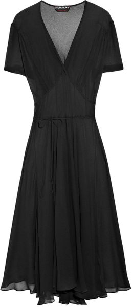 Rochas Silkgauze Dress in Black - Lyst