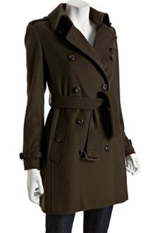 Burberry Olive Wool-cashmere Buckingham Belted Trench - Lyst