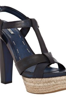 Miu Miu Denim Leather Jute Platform Sandals - Lyst