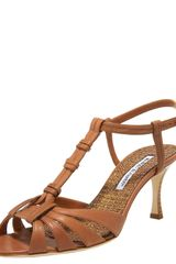 Manolo Blahnik Leather T-strap Sandal - Lyst