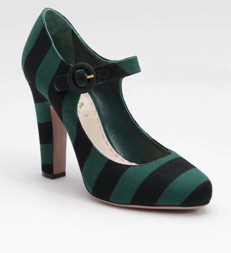 Prada Striped Mary Jane Pumps in Green - Lyst
