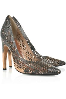 Proenza Schouler Perforated Lizard-effect Leather Pumps - Lyst