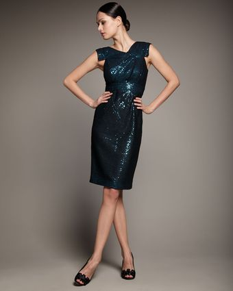 Redux Charles Chang-lima Cap-sleeve Sequined Mesh Dress - Lyst