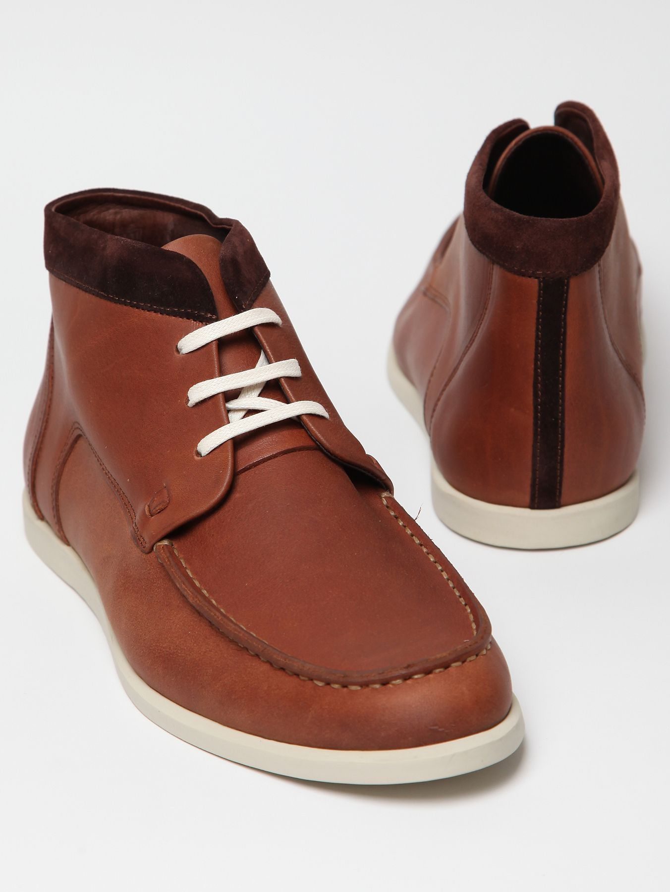 folk shoes leather harry chukka boot in brown for