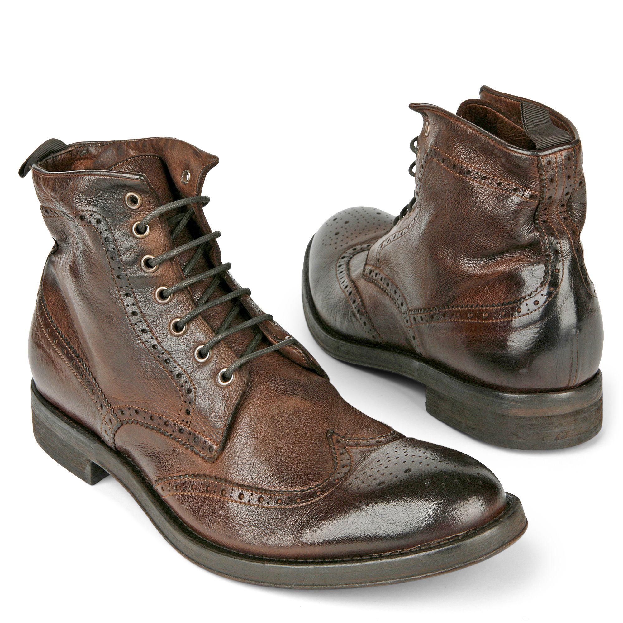 kurt geiger jacks wingcap brogue boots in brown for lyst