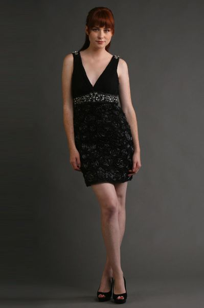 Sue Wong Jewel Encrusted Draped Sheath Dress in Black (silver) - Lyst