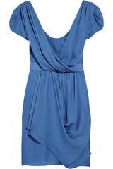 Tibi Draped Silk Dress in Blue - Lyst