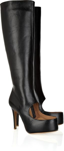 Maison Martin Margiela Cutout Leather Boots - Lyst