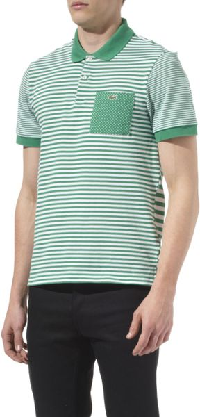 Lacoste Striped Contrast Pocket Polo Shirt in Green for Men