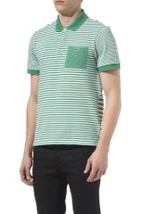 Lacoste Striped Contrast Pocket Polo Shirt in Green for Men - Lyst