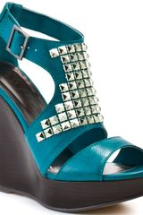 Michael Antonio Gidget Wedge - Teal Pu