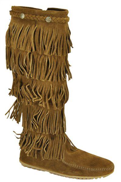 minnetonka brown suede fringe boot lyst