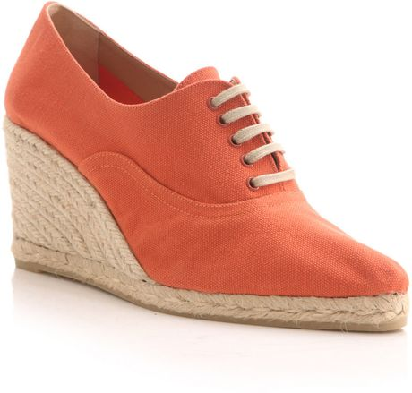 Castaner Point Toe Lace-up Espadrilles in Orange