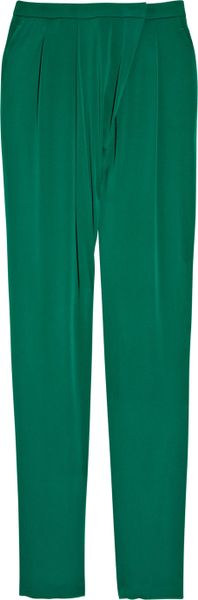 Gucci Wrapfront Stretchsilk Pants in Green (emerald) - Lyst