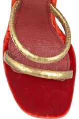 Marc Jacobs Wraparound Python and Velvet Sandals in Gold (red) - Lyst