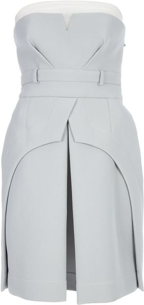 Preen Structured Pleat Dress in Gray (pearl) - Lyst
