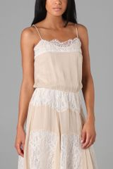 Haute Hippie Lace Overlay Slip Dress in Pink (nude) - Lyst