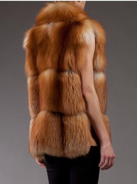 liska fox fur gilet in brown  natural