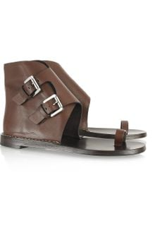 Michael Kors Buckled Flat Leather Sandals - Lyst