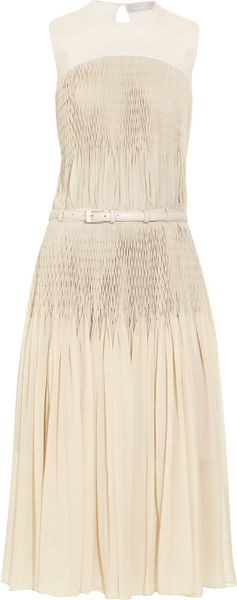 Preen Gatsby Pleated Silkgeorgette Dress in Beige (cream) - Lyst