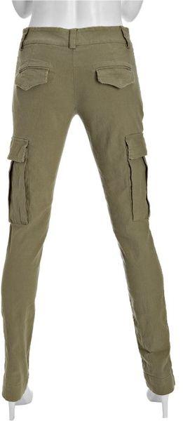 Alice Olivia Safari Green Cotton Linen Distressed Skinny