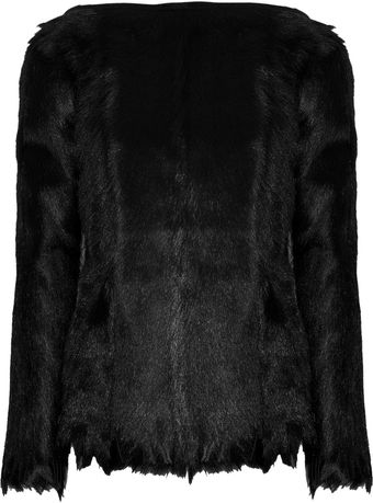 Halston Fringed Goat Shearling Top - Lyst