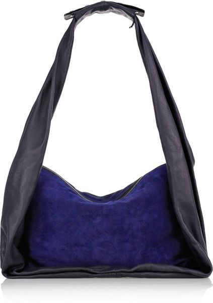 Halston Allen Leather and Suede Hobo Bag in Blue