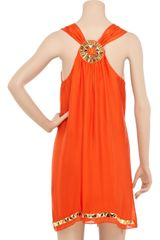 Milly Embellished Silk Trapeze Dress in Orange - Lyst