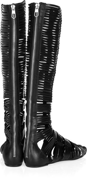 Sigerson Morrison Banded Leather Sandal Boots In Black Lyst