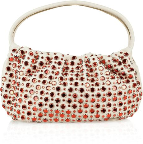 Sonia Rykiel Crystalembellished Leather Bag in Pink (cream) - Lyst