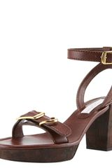 Stella Mccartney Anklewrap Platform Sandal in Brown - Lyst