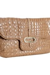 Jimmy Choo Nude Croc Embossed Leather Terri Chain Link Crossbody Bag - Lyst