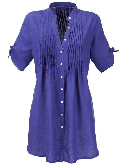 lewis button through shirt blue in blue