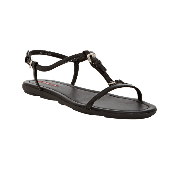 Prada Sport Black Patent Leather T Strap Flat Sandals In