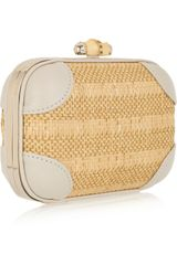 Gucci Broadway Raffia and Leather Clutch in Gold (gray) - Lyst