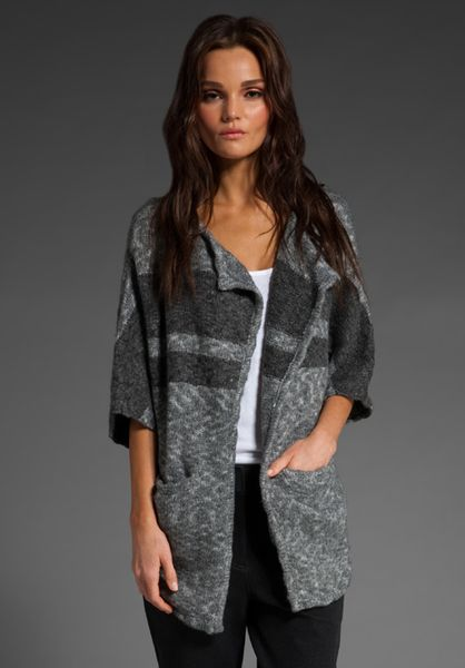 James Perse Striped Blanket Cardigan in Gray (Heather Grey Charcoal)
