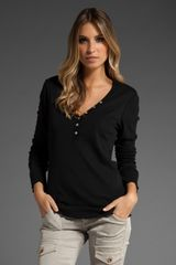 Michael Stars Raw Edge Long Sleeve V Neck Henley - Lyst