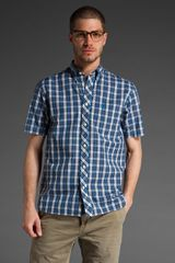 Fred Perry Short Sleeve Culloden Tartan Shirt in White/turquoise - Lyst