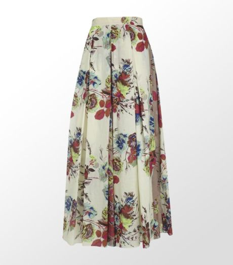 kenzo floral pleated maxi skirt in beige lyst