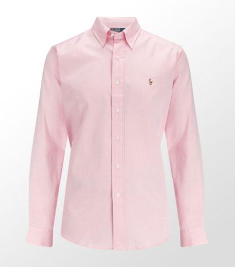 Ralph Lauren Pinpoint Oxford Dress Shirt In Pink For Men