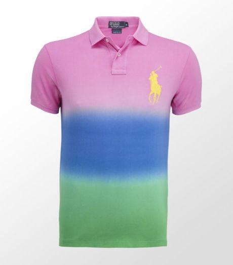 Ralph Lauren Tie Dye Polo Shirt In Pink For Men Lyst